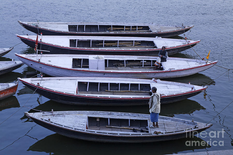 Boats Photograph - Five Boats On The Ganges by Robert Preston