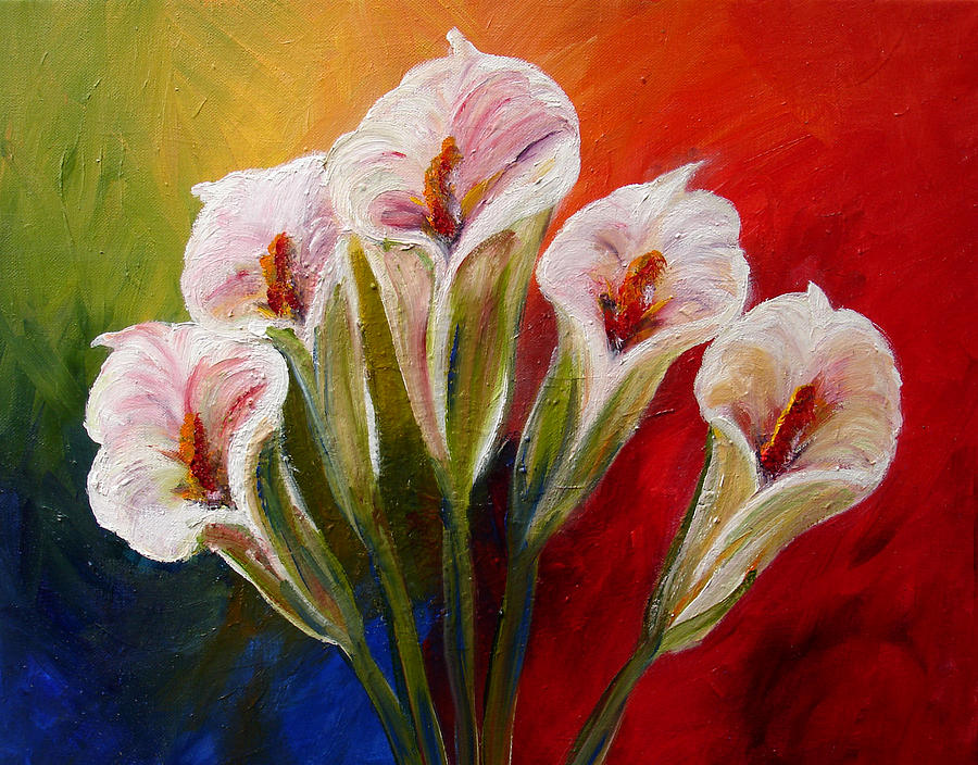 Flowers Painting - Five Cala Lillies Print by Mary Jo Zorad