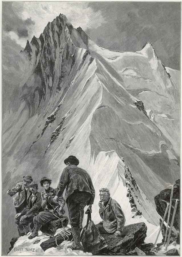 Climbing Drawing - Five Climbers Contemplate The  Daunting by Mary Evans Picture Library