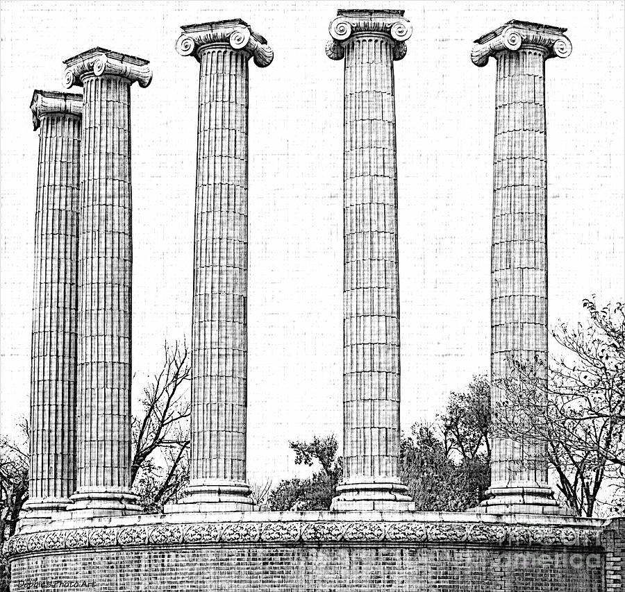 Architecture Photograph - Five Columns Sketchy by Debbie Portwood