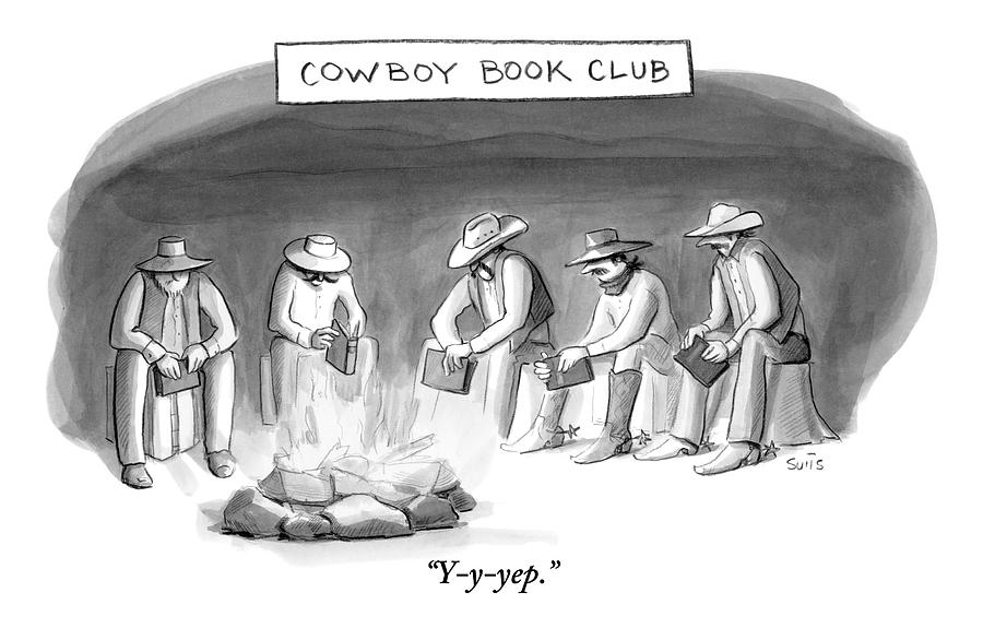 Five Cowboys Sit Around A Campfire. Each Cowboy Drawing by Julia Suits
