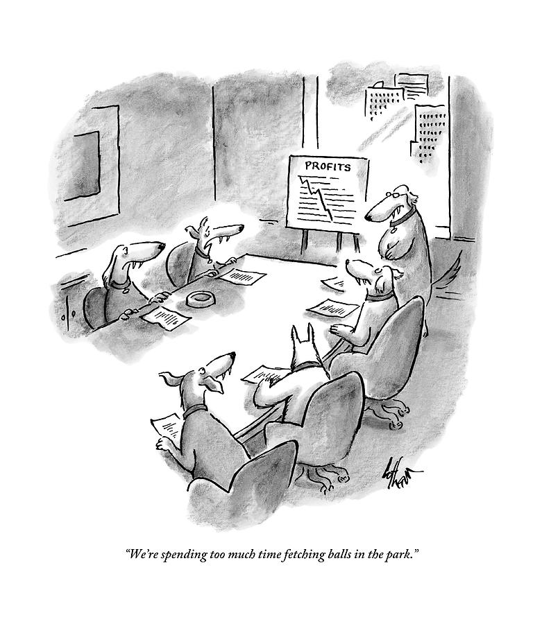 Five Dogs Sit Around An Office Meeting Table Drawing by Frank Cotham
