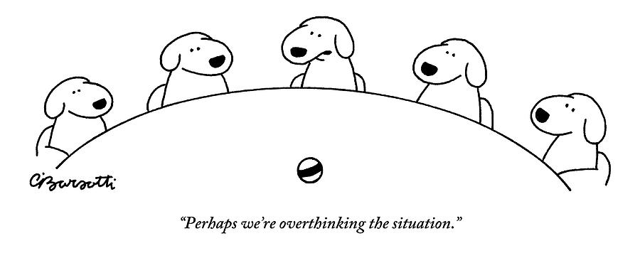 Five Dogs Sitting Around A Roundtable Drawing by Charles Barsotti