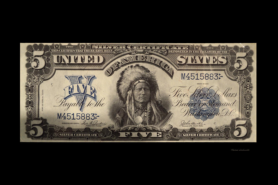Five Dollar Us Currency Silver Certificate Indian Bill Photograph by ...