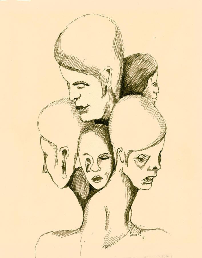 Head Drawing - Five Headed Figure by Sam Sidders