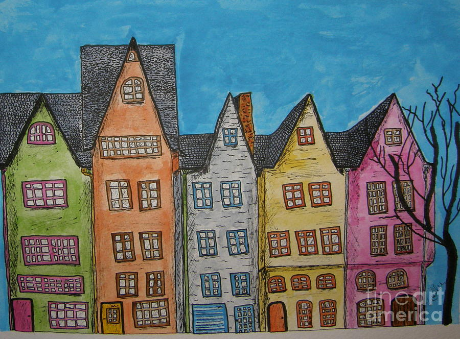 House Painting - Five In A Row by Marcia Weller-Wenbert