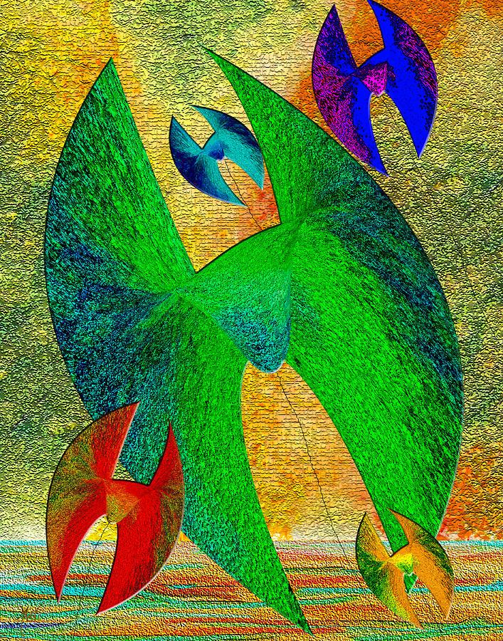 Five Lucky Kites Digital Art