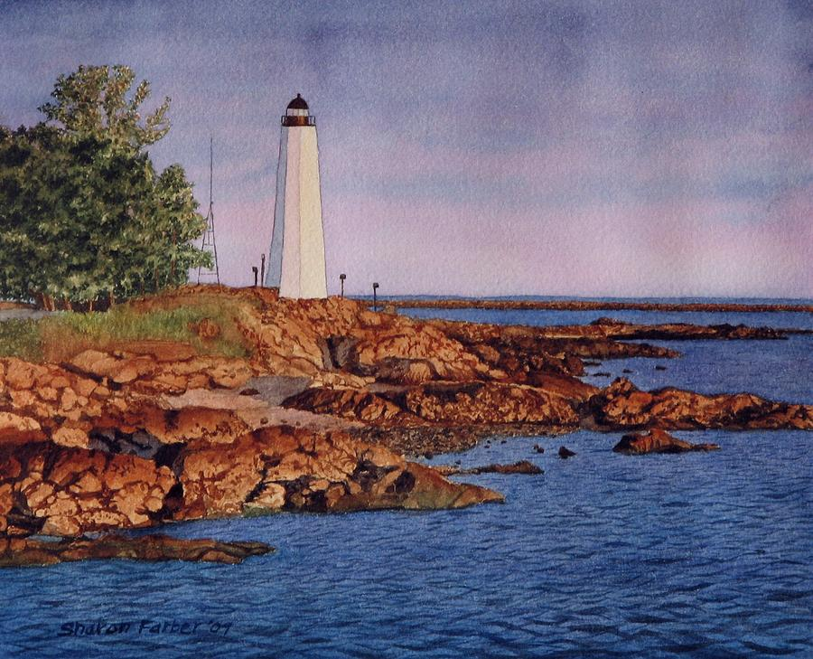 Lighthouse Painting - Five Mile Point Lighthouse by Sharon Farber