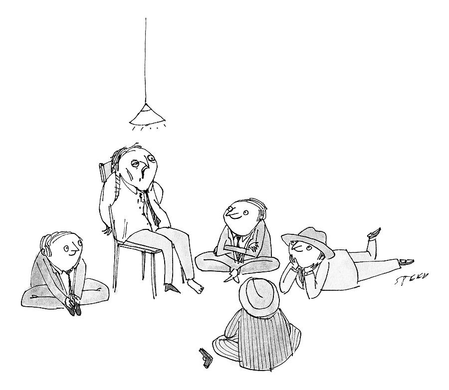 Five Mob-type Guys All Sit Like Children Drawing by Edward Steed