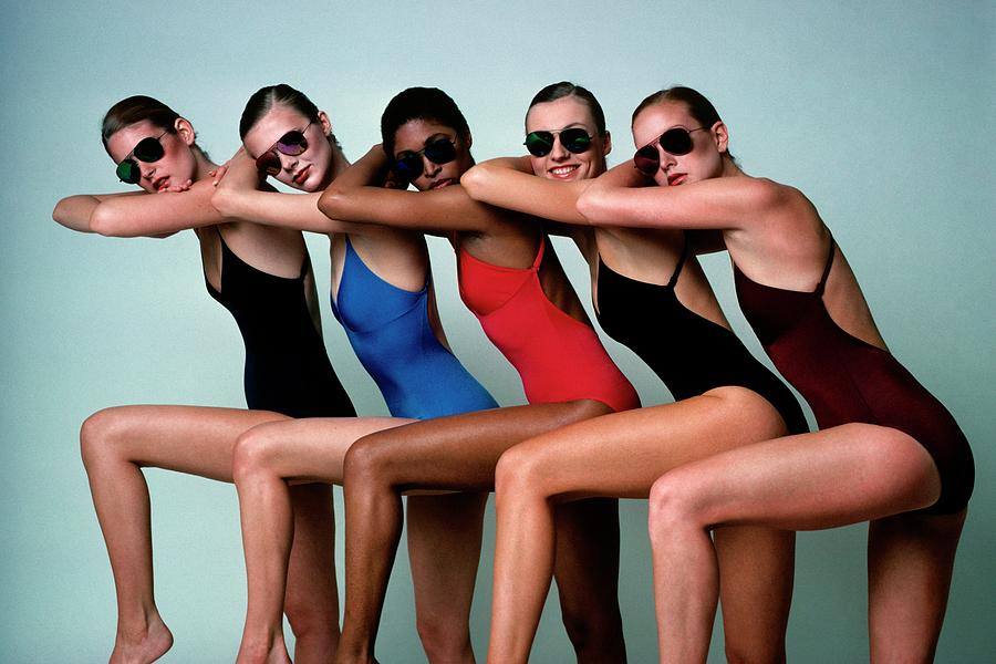 Five Models Wearing Bathing Suits Photograph by Alberto Rizzo