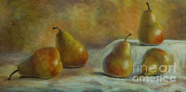 Pears Painting - Five Pears by Jana Baker