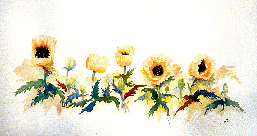 Watercolor Painting - Five Poppies by William Renzulli