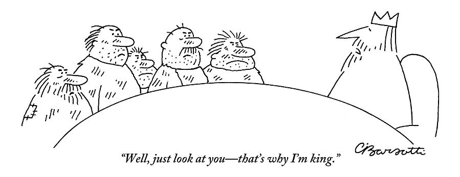 Five Scruffy Looking Men Sit At A Round Table Drawing by Charles Barsotti