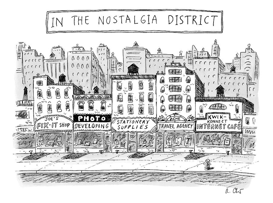 Five Stores On A Street Make-up The Nostalgia Drawing by Roz Chast