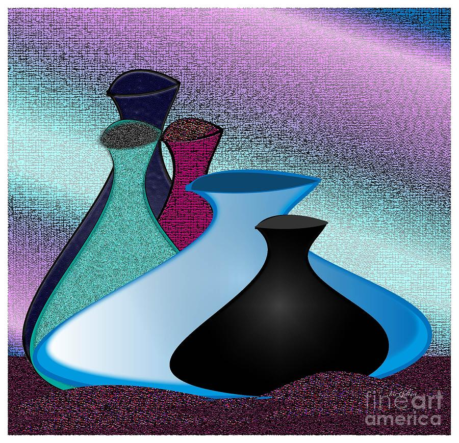 Vases Digital Art - Five Vases by Iris Gelbart