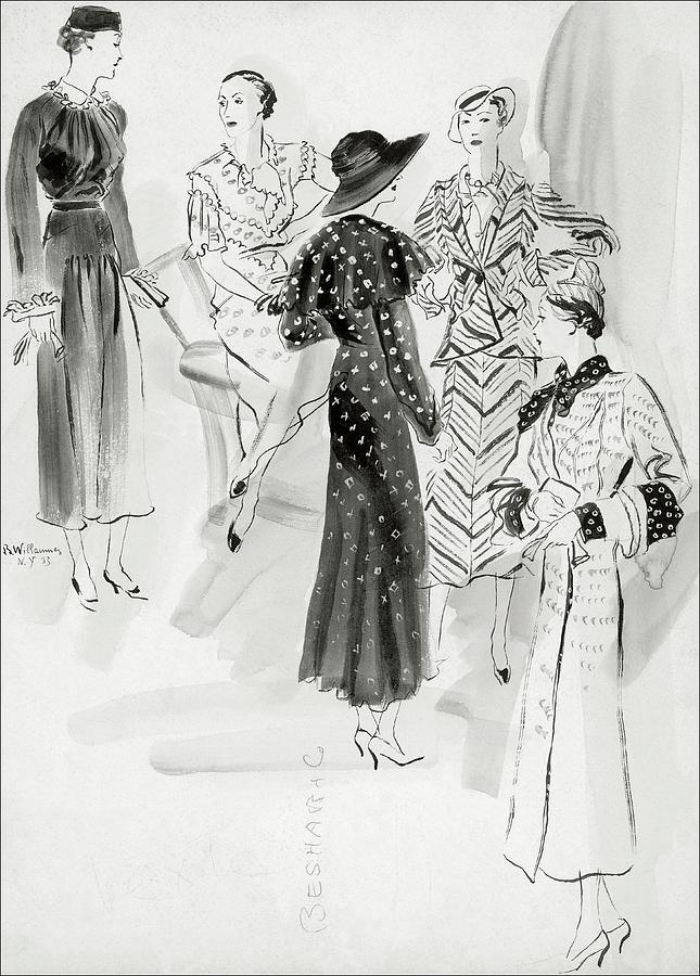 Five Women Wearing Chanel Digital Art by Rene Bouet-Willaumez