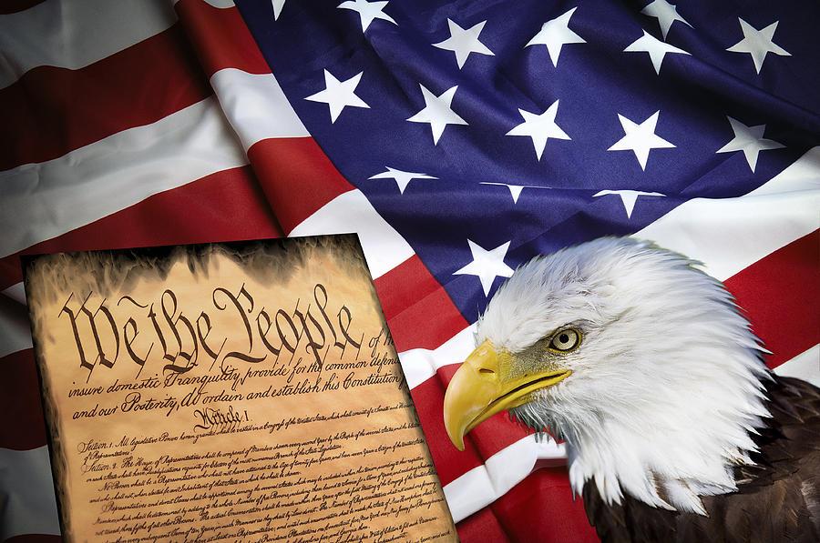 America Digital Art - Flag Constitution Eagle by Daniel Hagerman
