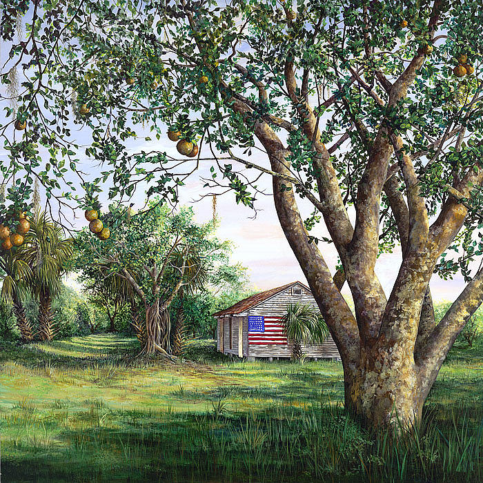 American Flag Painting - Flag House by AnnaJo Vahle