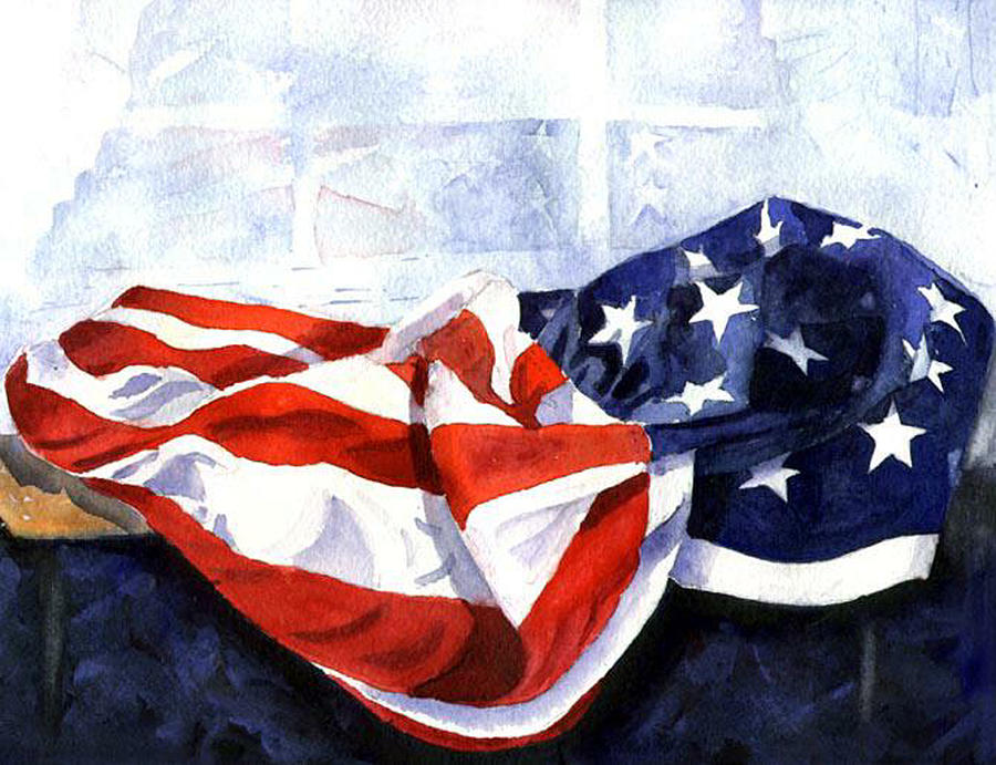 American Flag Painting - Flag In  The Window by Suzy Pal Powell