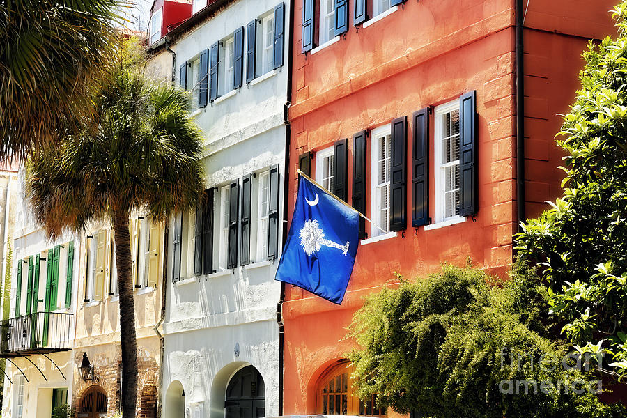 Charleston Photograph - Flag Of Charleston With Palmetto And Crescent Moon by George Oze