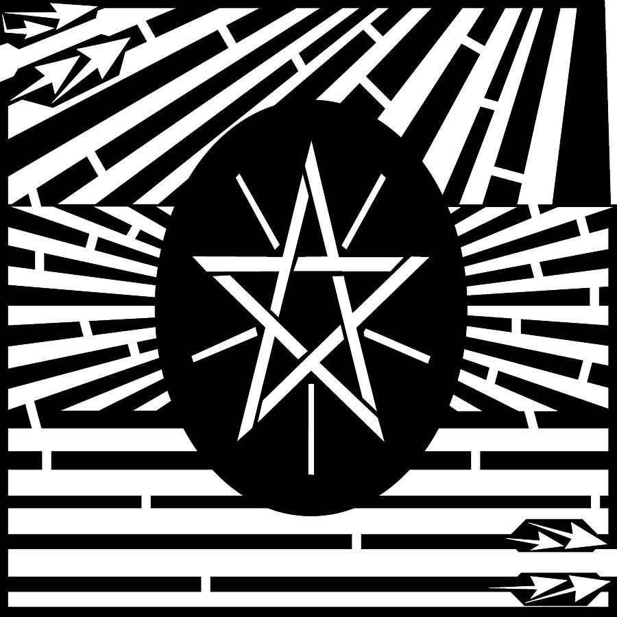 Educational Mazes Drawing - Flag Of Ethiopia Maze  by Yonatan Frimer Maze Artist