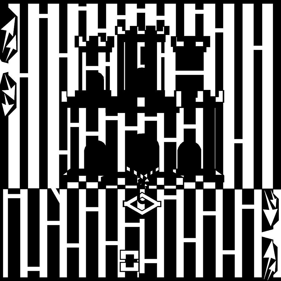 Gibraltar Drawing - Flag Of Gibraltar Maze  by Yonatan Frimer Maze Artist