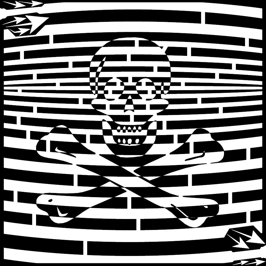 Jolly Drawing - Flag Of Jolly Roger Maze by Yonatan Frimer Maze Artist