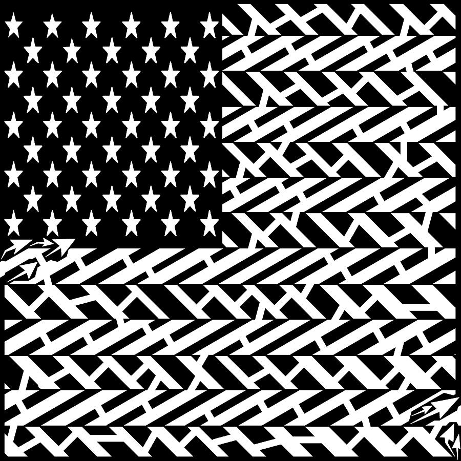 Flag Drawing - Flag Of Usa Maze by Yonatan Frimer Maze Artist