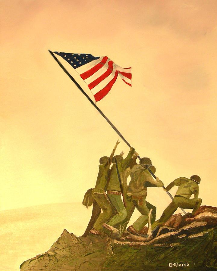 Marines Painting - Flag Raising At Iwo Jima by Dean Glorso