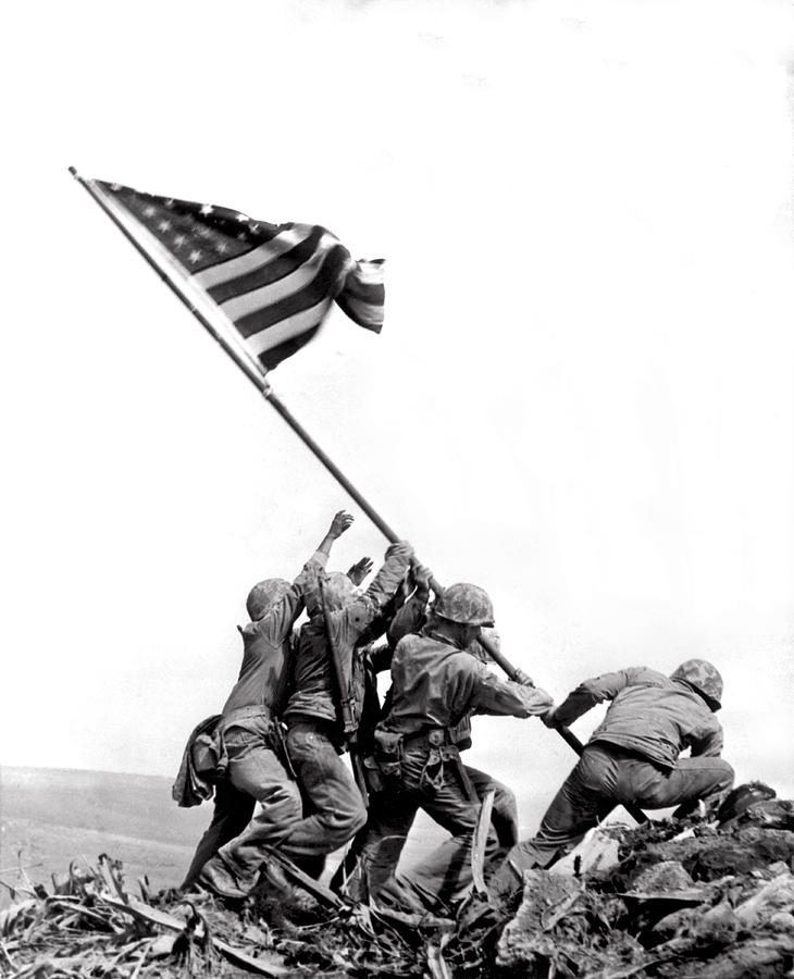 1945 Photograph - Flag Raising At Iwo Jima by Underwood Archives