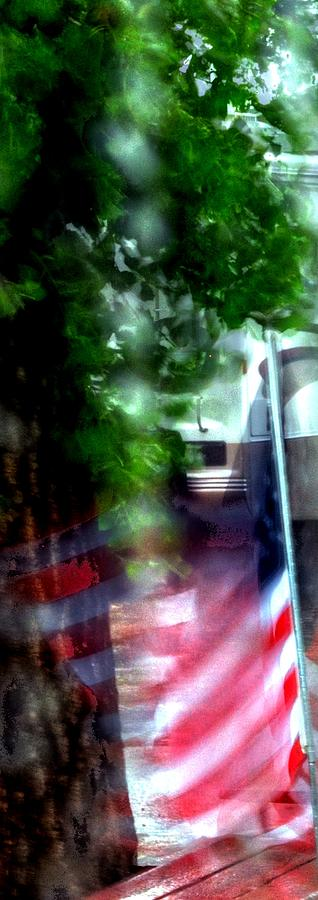 Flag Through The Window 16298 Photograph
