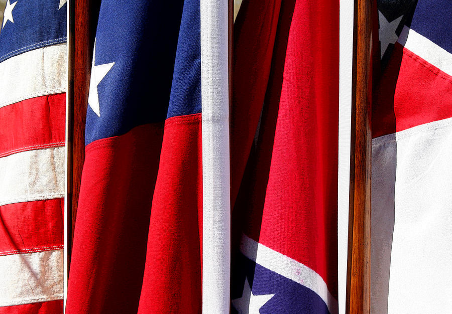 Flag Photograph - Flags Of The North And South by Joe Kozlowski