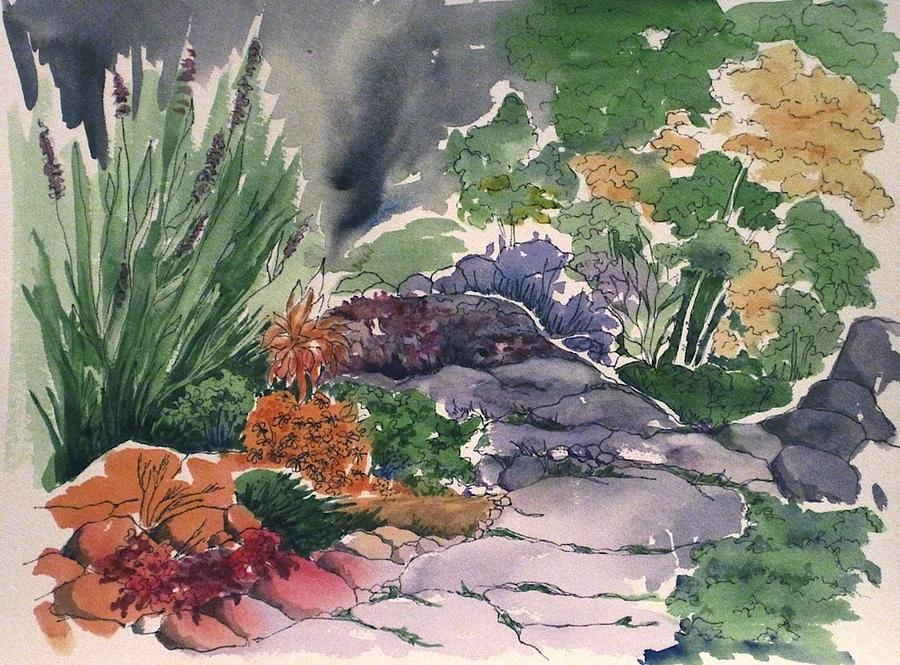 Garden Painting - Flagstone Path by Renee Goularte