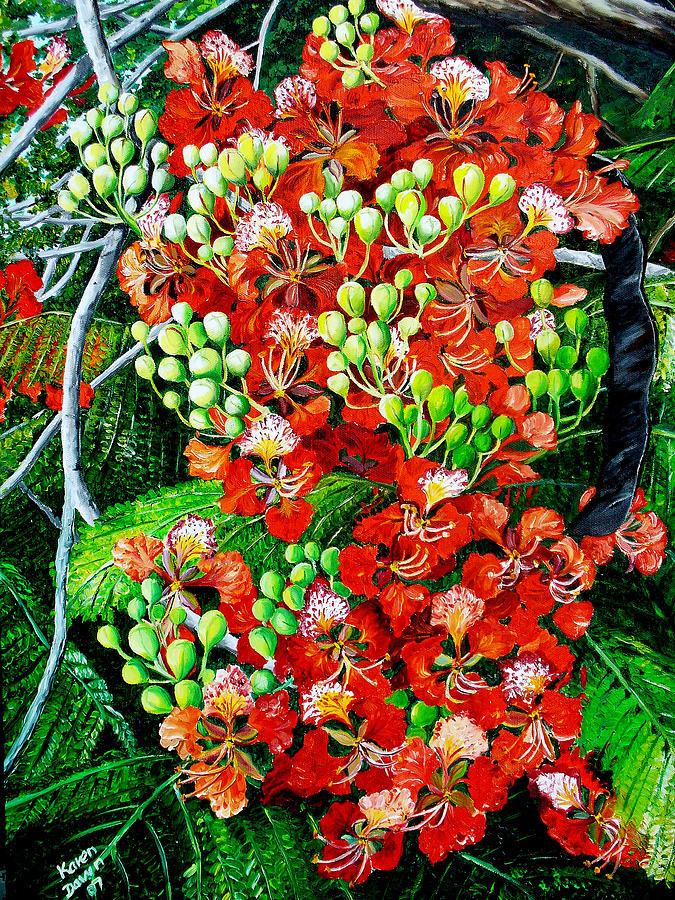 Flamboyant In Bloom Painting by Karin  Dawn Kelshall- Best
