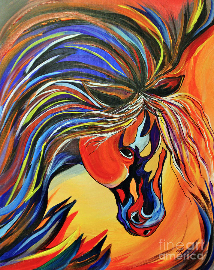 Flame Painting - Flame Bold And Colorful War Horse by Janice Rae Pariza