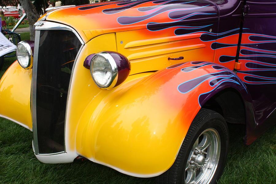 Vintage Car Photograph - Flame Job by Terry Fleckney