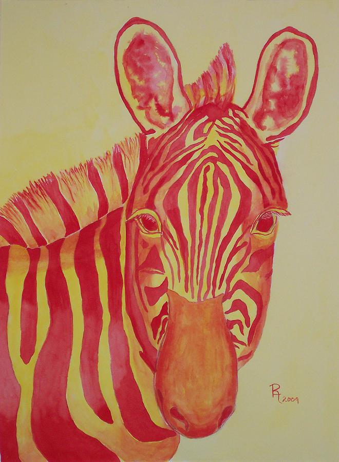 Zebra Painting - Flame by Rhonda Leonard