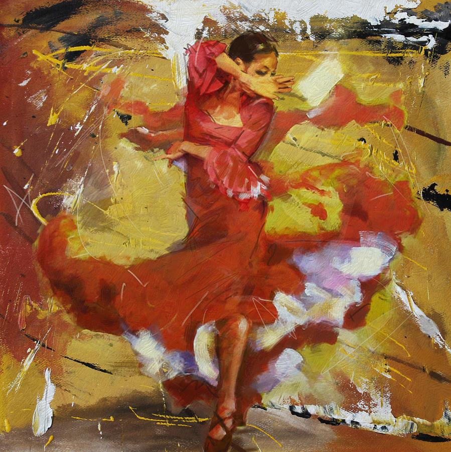 Jazz Painting - Flamenco 44 by Maryam Mughal
