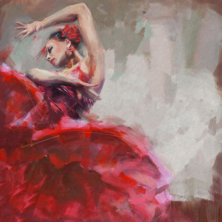 Jazz Painting - Flamenco 53 by Maryam Mughal