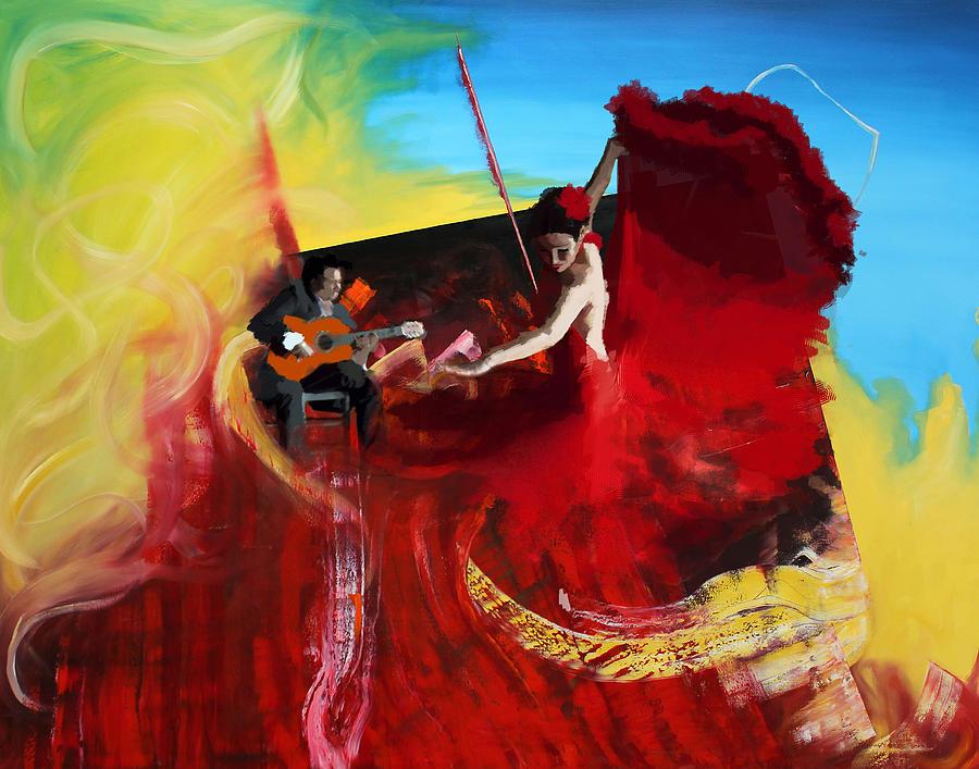 Jazz Painting - Flamenco Dancer 016 by Catf