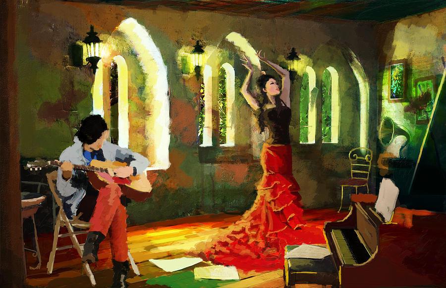 Jazz Painting - Flamenco Dancer 017 by Catf