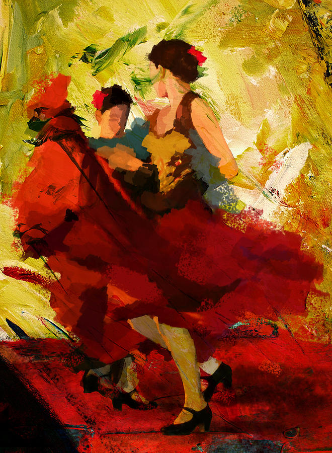 Jazz Painting - Flamenco Dancer 019 by Catf