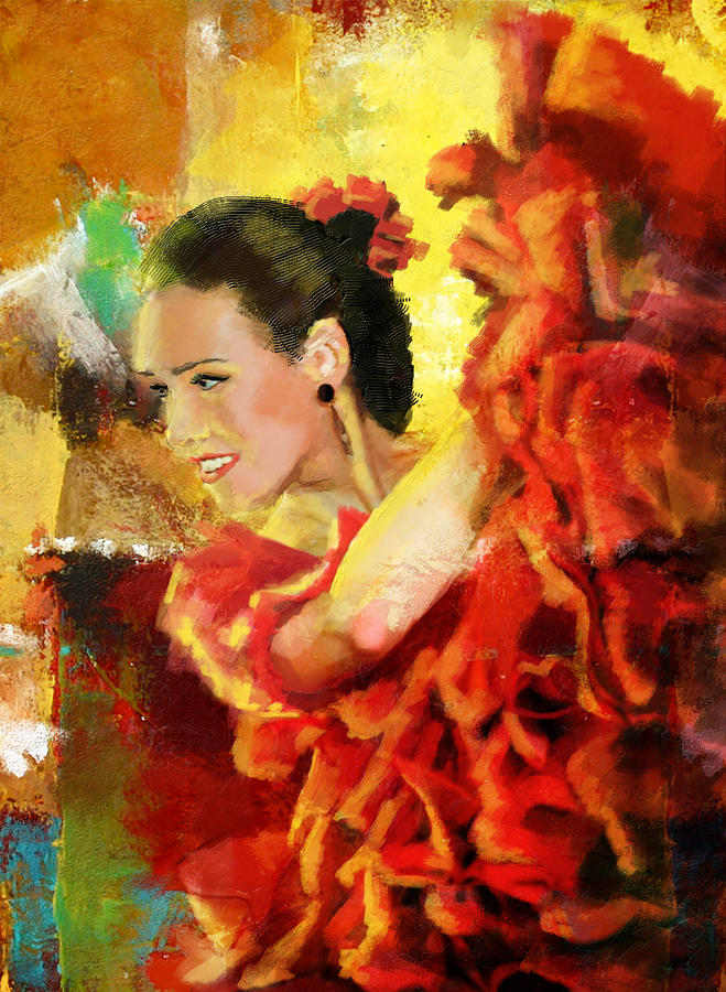 Jazz Painting - Flamenco Dancer 027 by Catf