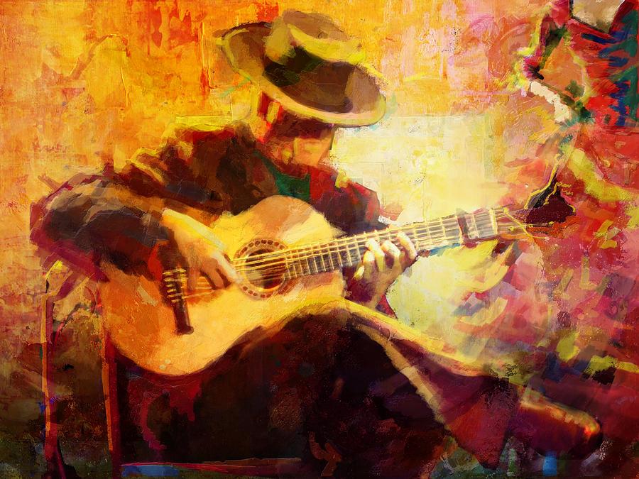 Jazz Painting - Flamenco Dancer 028 by Catf