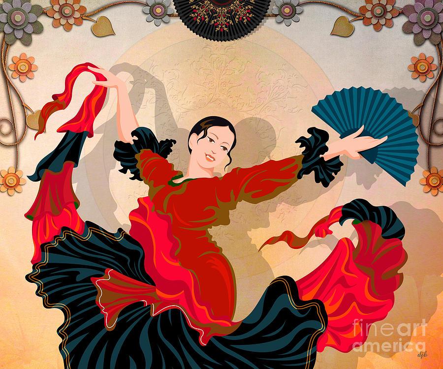 Design Digital Art - Flamenco Dancer by Bedros Awak