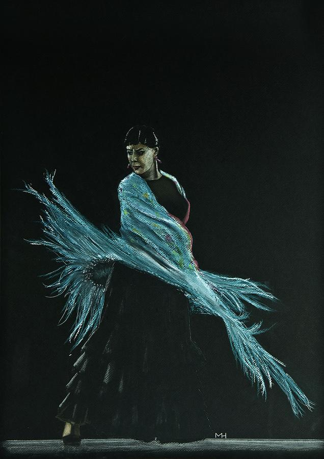 Flamenco Drawing - Flamenco Dancer In Shawl by Martin Howard