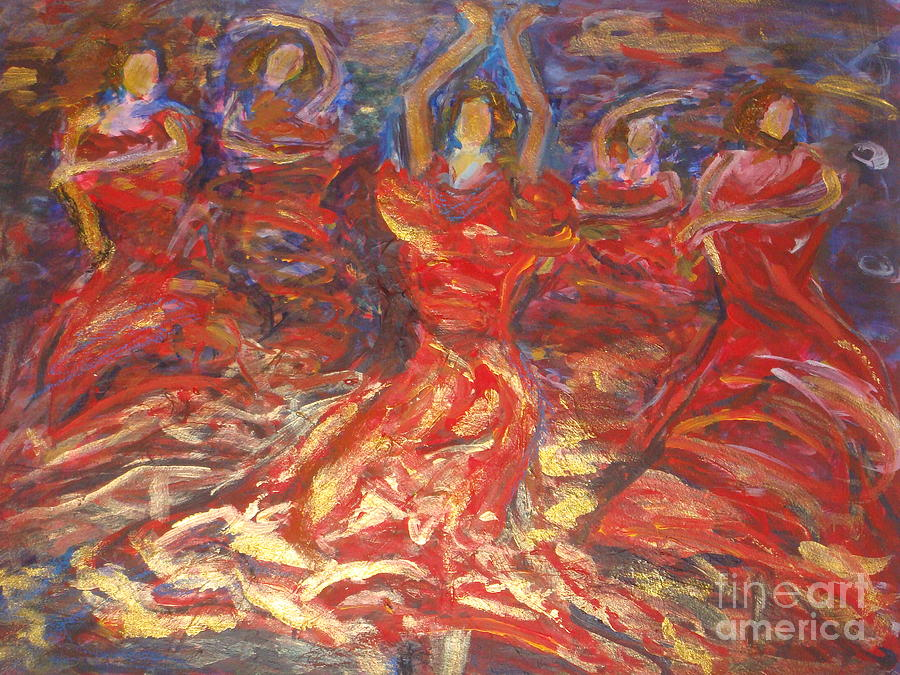 Flamenco Dancing Painting - Flamenco Dancers by Fereshteh Stoecklein