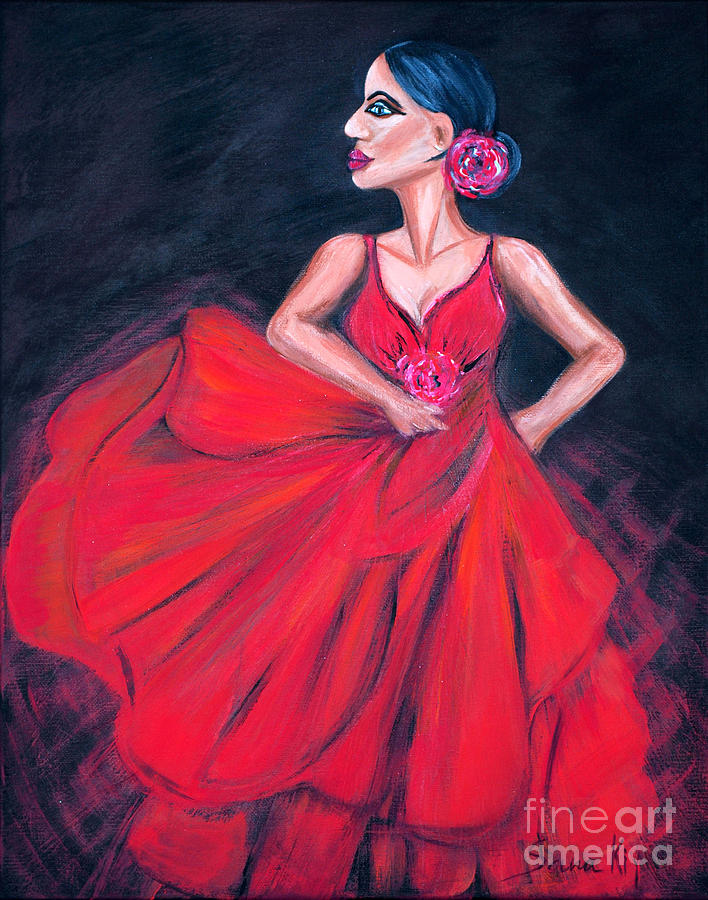Flamenco. Woman in Red Dress by Oksana Semenchenko