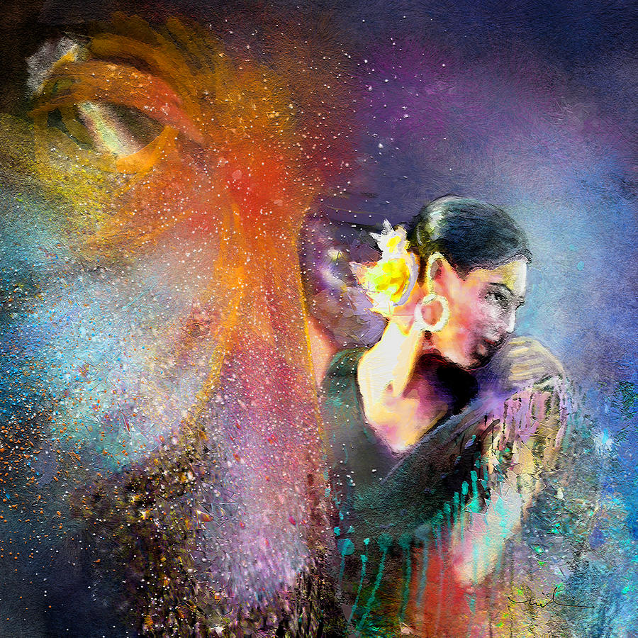 Flamenco Painting - Flamencoscape 04 by Miki De Goodaboom