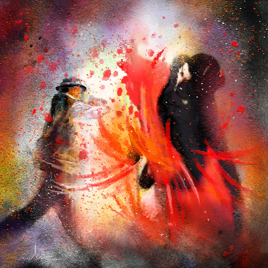 Flamenco Dance Painting - Flamencoscape 07 by Miki De Goodaboom